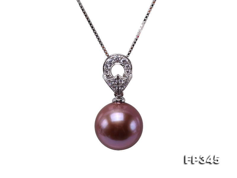 11.5mm Perfectly Round Rich Lavender Edison Pearl Pendant