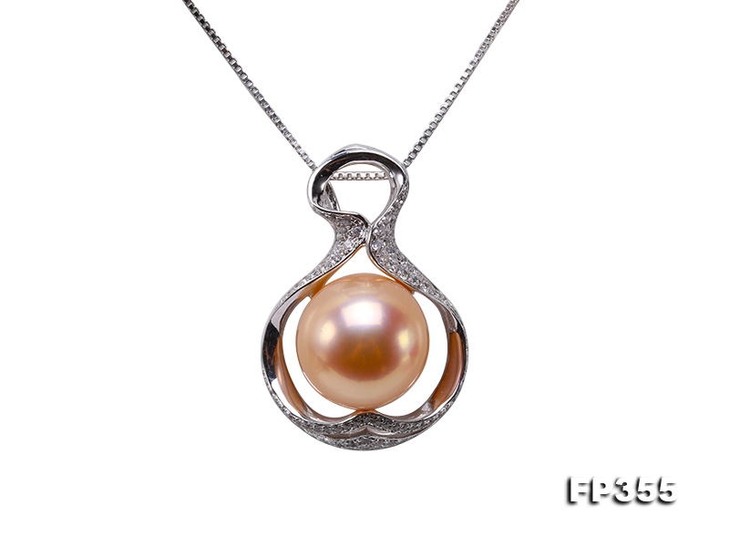 12mm Perfectly Round Golden Pink Edison Pearl Pendant