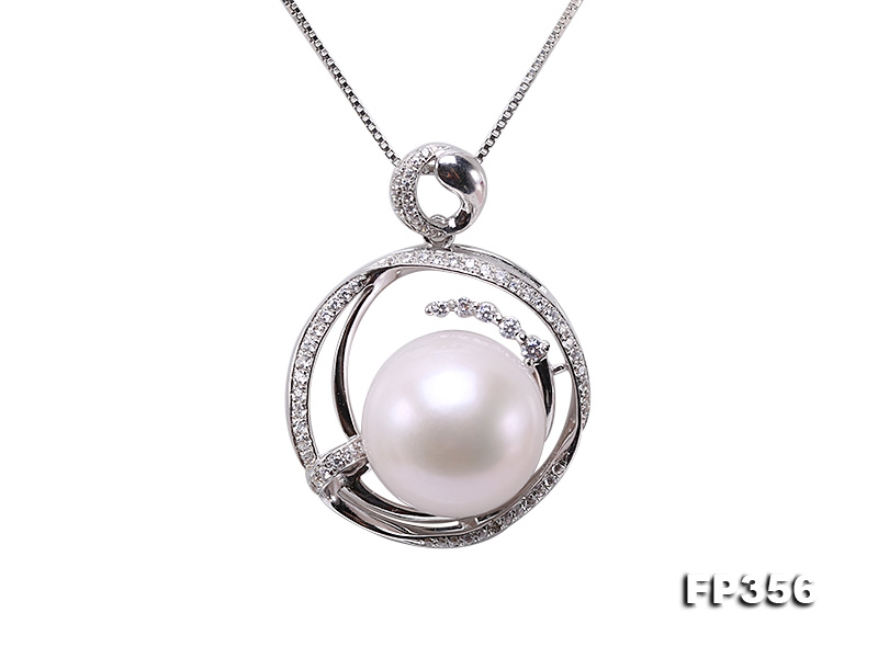 Elegant 14mm Round Freshwater Pearl Pendant in Sterling Silver