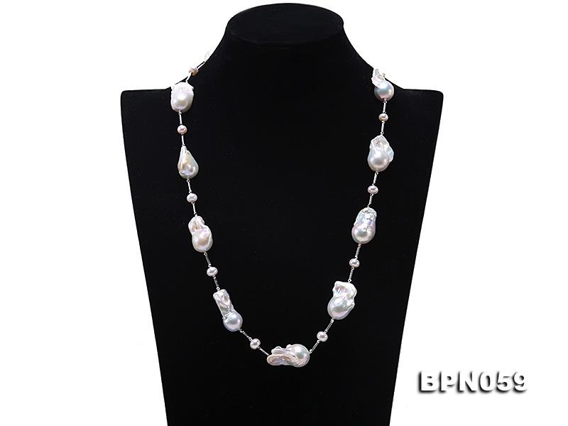 15×26-22×32mm White Baroque Pearl Necklace in Sterling Silver