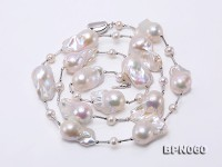 17×26-24×35mm White Baroque Pearl Necklace in Sterling Silver