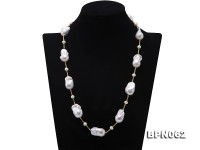 16.5×26-16×30mm White Baroque Pearl Necklace in Sterling Silver