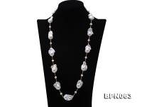 17.5×28-19.5×35mm White Baroque Pearl Necklace in Sterling Silver