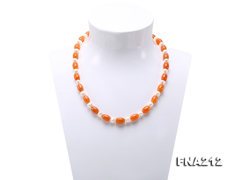 6-7mm White Pearl and 8x10mm Orange Agate Necklace