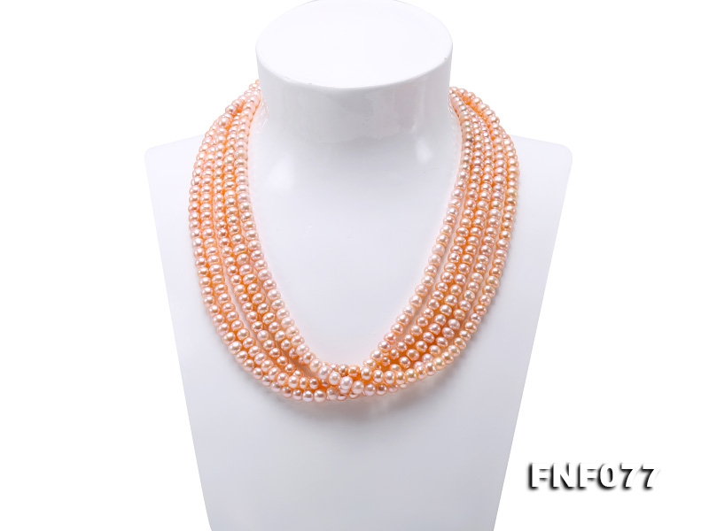 Chunky Multi-strand 6mm Natural Pink Freshwater Pearl Necklace