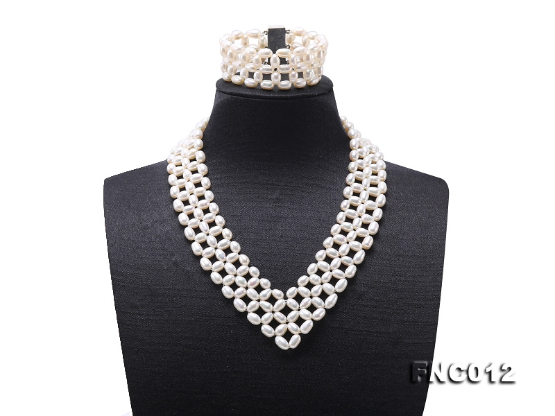 Graceful 5x6mm White Pearl Woven Necklace Bracelet Set