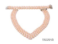 Graceful 6x7mm Pink Pearl Woven Necklace Bracelet Set