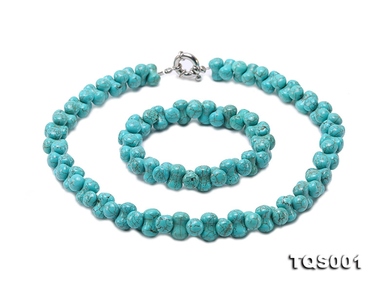 12.5×8.5mm Bone-shape Blue Turquoise Necklace Bracelet Set