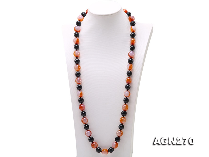 16mm Red Agate and 13.5mm Black Agate Necklace