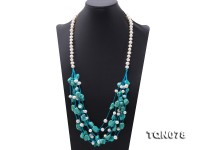 Special Blue Irregular Turquoise & White Pearl Necklace