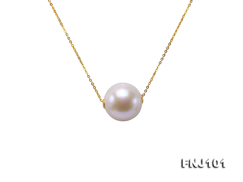 Fully-drilled 13.5mm White Edison Pearl Chain Necklace