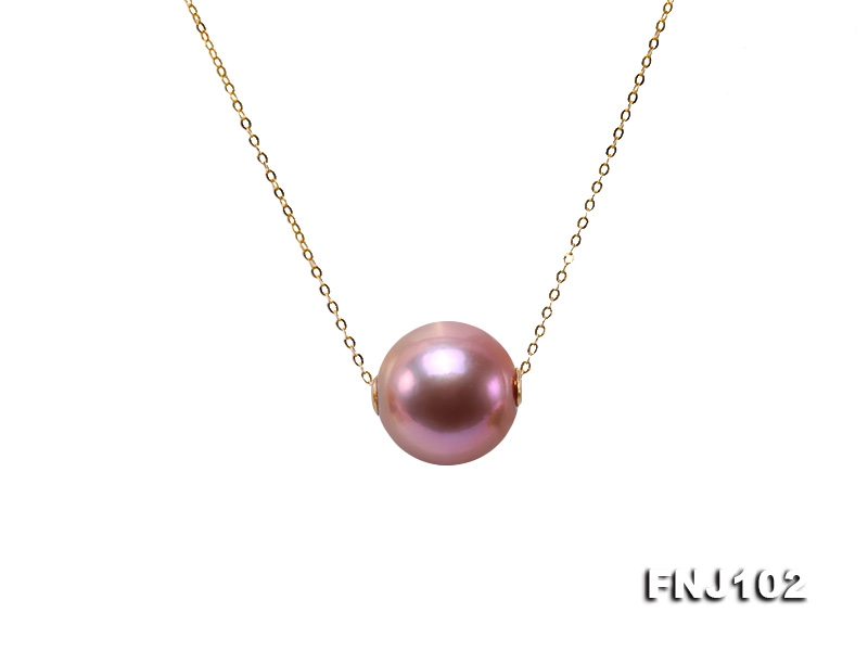 Fully-drilled 12.5mm Lavender Round Edison Pearl Chain Necklace in 18k Gold