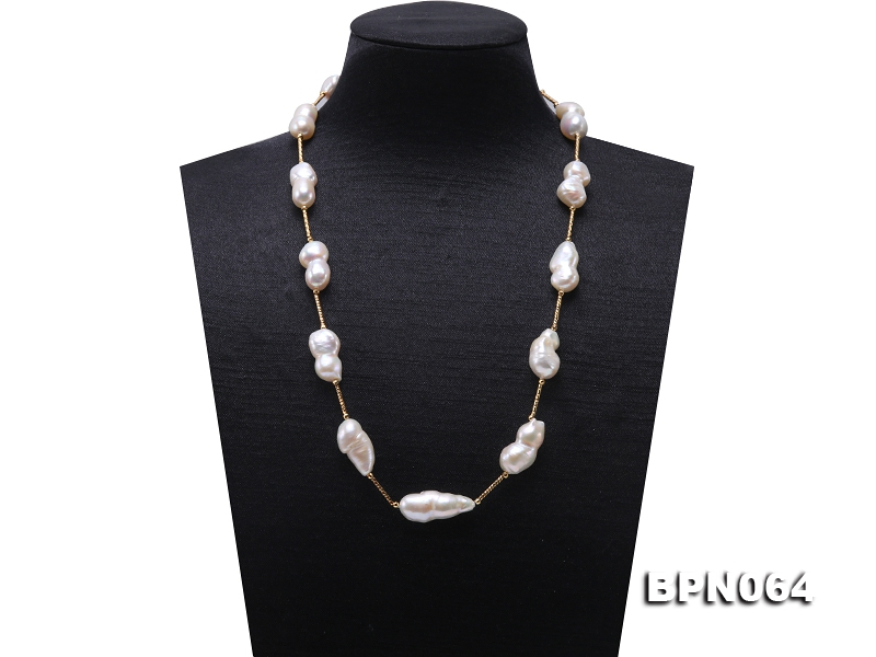 12×20-11.5×28mm White Baroque Pearl Chain Necklace
