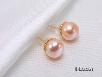 9.5mm Pink Flatly Round Freshwater Pearl Stud Earrings