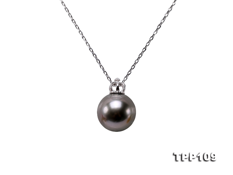 13mm Black Round Tahiti Pearl Pendant in Siver
