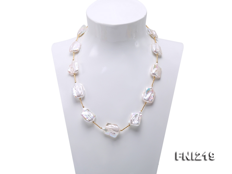 16.5×21-22×30mm White Baroque Freshwater Pearl Necklace