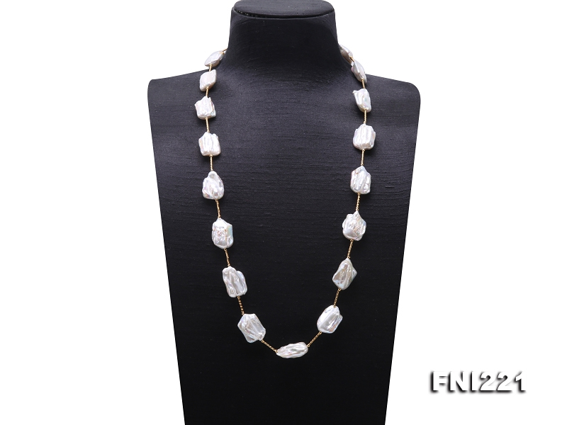 Long 17×24-18.5×26mm White Baroque Pearl Necklace with Copper Tubes