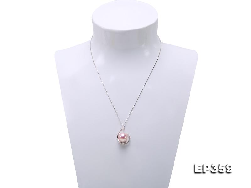 12mm Lavender Round Edison Pearl Pendant in Silver