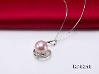 11-12mm Lavender Edison Pearl Pendant and Earrings Set in Silver