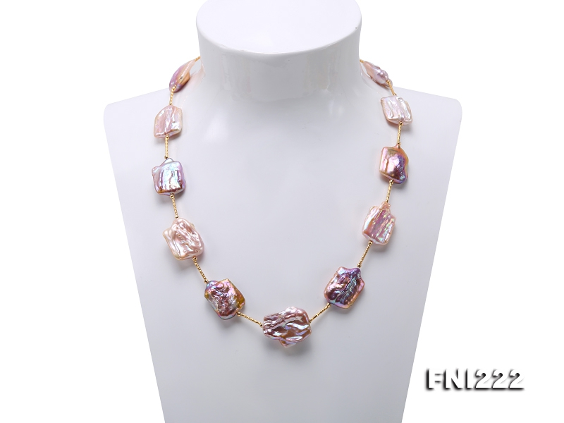 16.5×22-22×25mm Natural Lavender Baroque Pearl Necklace