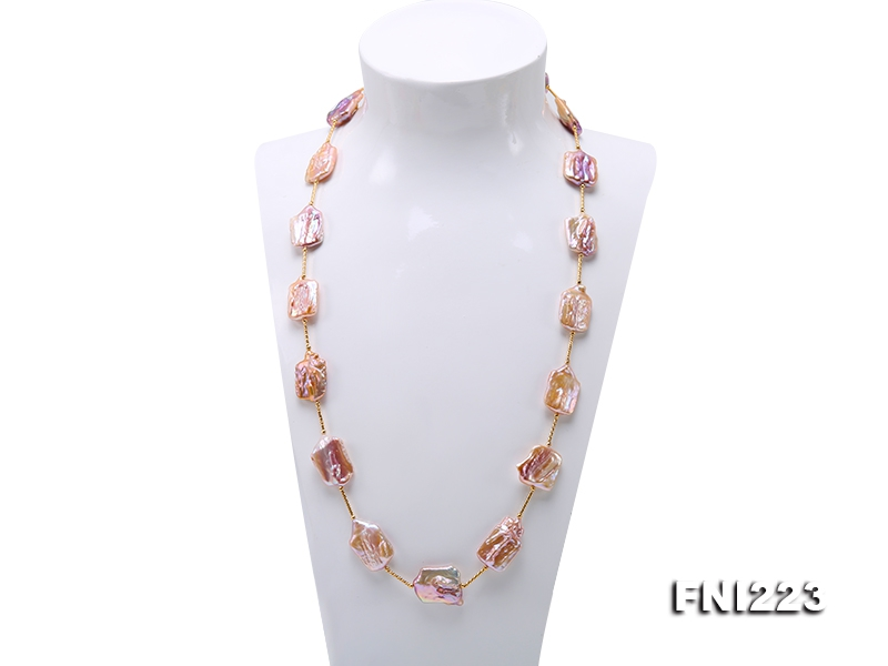 16.5×23-17×26mm Natural Lavender Baroque Pearl Necklace