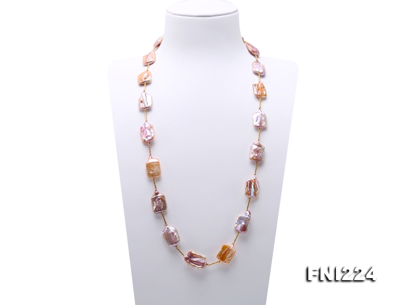 16.5×21-18×28mm Natural Lavender Baroque Pearl Necklace