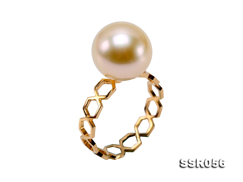 11mm Golden South Sea Pearl Ring in 14k Gold
