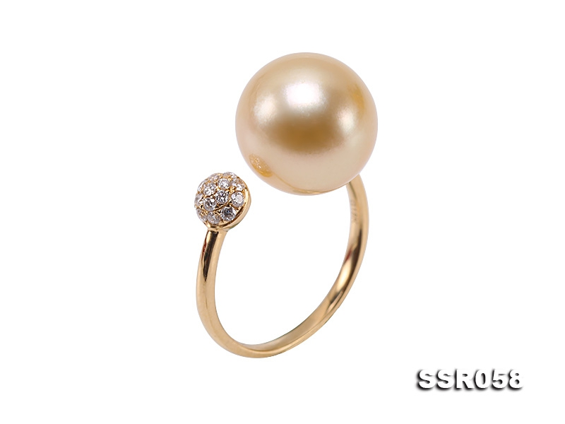Luxury 11.5mm Golden Round South Sea Pearl Ring in 18k Gold