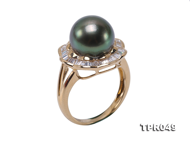 9.5mm Black Round Tahiti Pearl Ring in 14k Gold