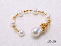 Customized 9k Gold Chain Necklace with Baroque Freshwater Pearls