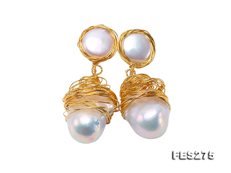Customized 9k Gold Earrings with White Baroque Pearls