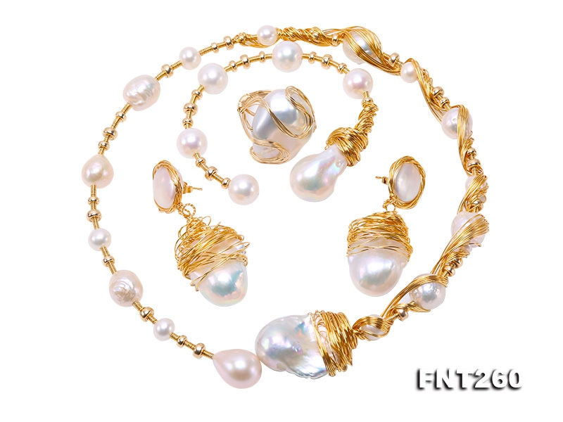 Customized 9k Gold with Baroque Freshwater Pearl Set