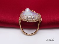 Customized 9k Gold Ring with 25×29mm White Baroque Pearl