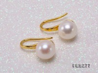 8mm White Round Freshwater Pearl Earrings in Silver