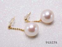 13.5mm White Round Edison Pearl Dangling Earrings