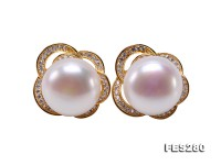 12mm White Freshwater Pearl Stud Earrings
