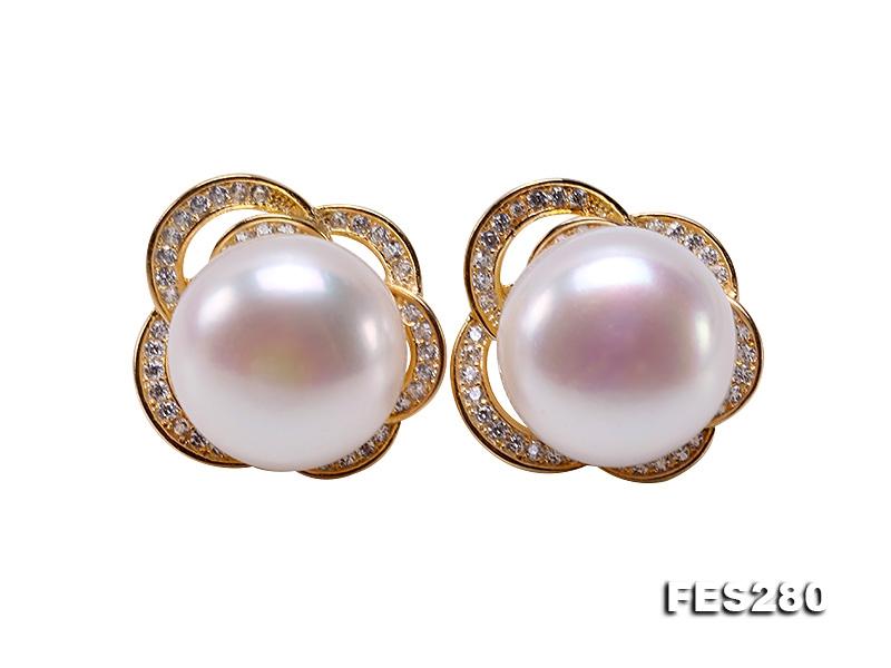 12mm White Freshwater Pearl Stud Earrings