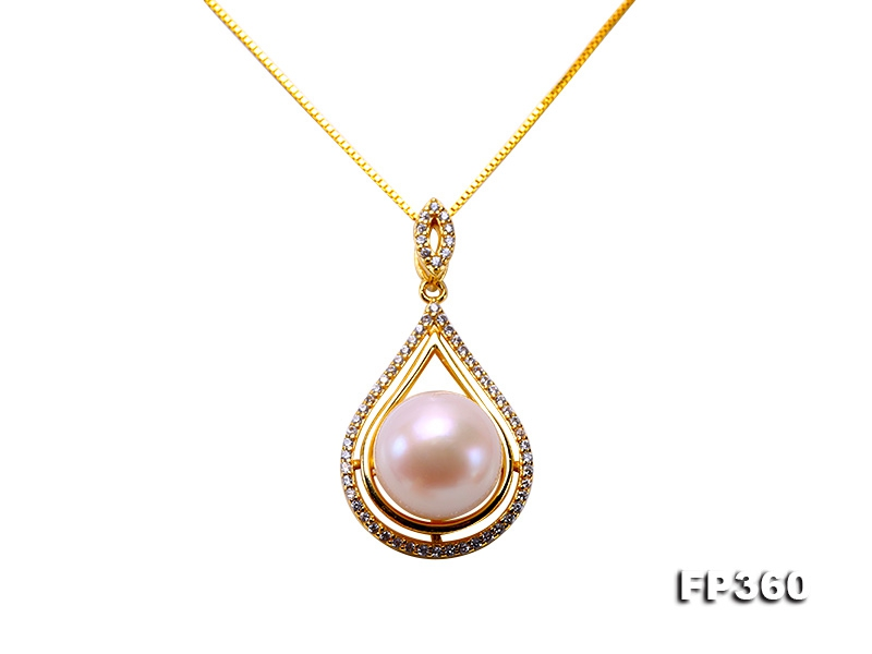 11.5mm White Freshwater Pearl Pendant in Silver