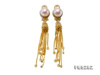 9.5-10mm White Flatly Round Freshwater Pearl Tassel Earrings in Silver