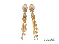 9mm Pink Flatly Round Freshwater Pearl Tassel Earrings in Silver