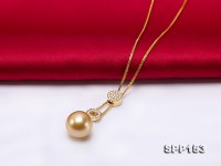 14mm Golden Round South Sea Pearl Pendant with 18k Gold and Diamond