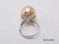 Luxury 15mm Golden South Sea Pearl Ring in 18k Gold
