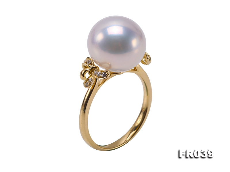 Top 12.5mm White Round Edison Pearl Ring in 18k Gold