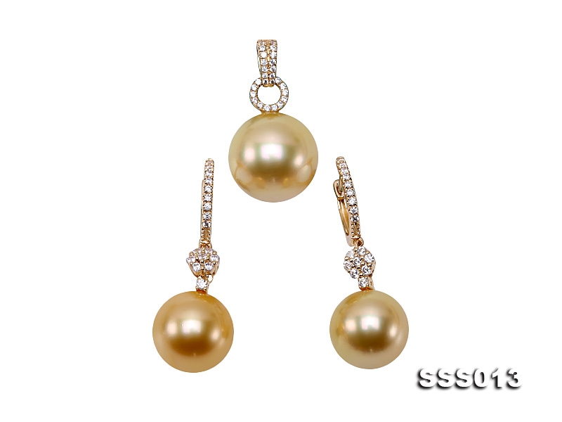 11.5-13.5mm Golden South Sea Pearl Pendant and Earrings Set