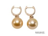 11.5mm Golden South Sea Pearl Clip-on Earrings in 14k Gold