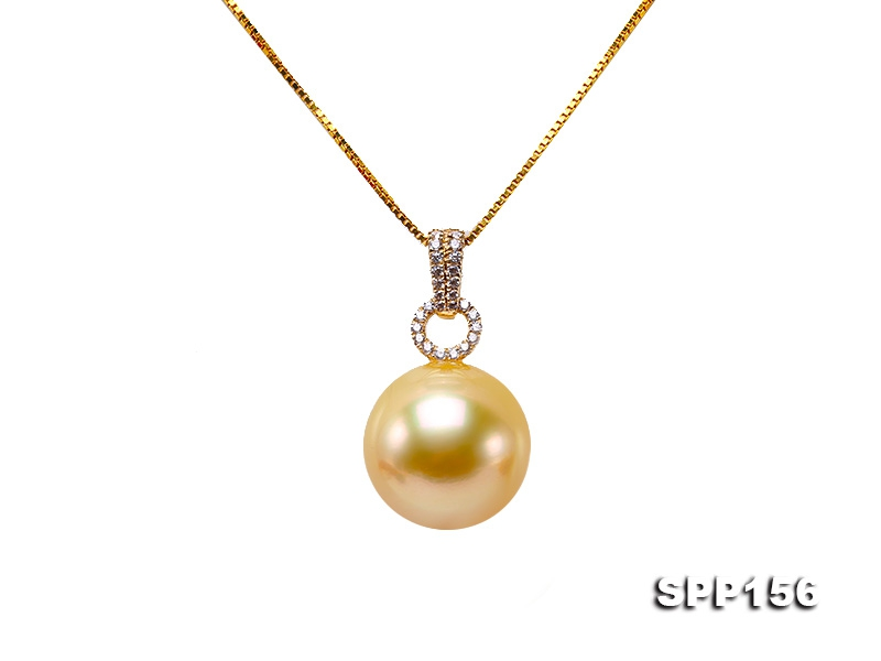 13.5mm Golden South Sea Pearl Pendant in 14k Gold