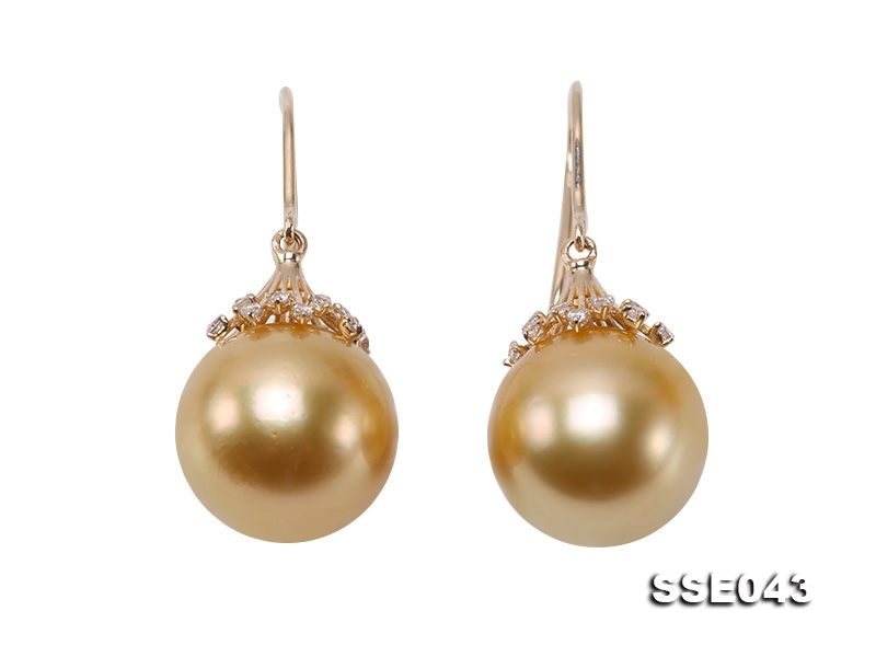 11mm Golden South Sea Pearl Dangling Earrings in 14k Gold