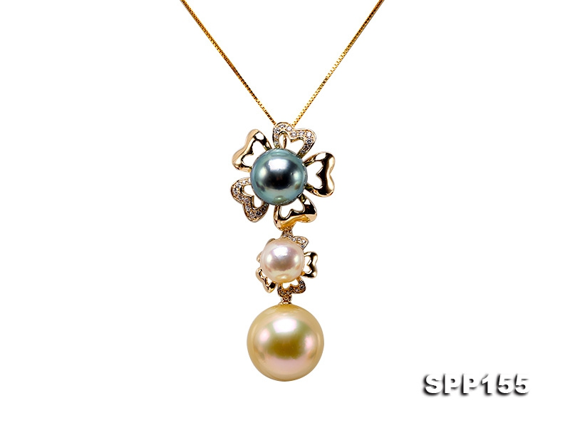 15.5mm Golden Round South Sea Pearl Pendant in 14k Gold