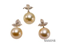 Luxury Set of 13-13.5mm Golden South Sea Pearl Pendant and Earrings