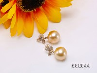 13mm Golden South Sea Pearl Stud Earrings in 14K Gold